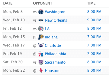 Chicago Bulls Upcoming Schedule